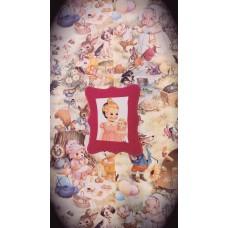 Pink Felt Framed Vintage Doll