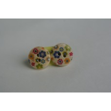 Wooden flower button earrings