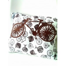 Vintage Bicycle Cushion with Felt Bicycle Applique'